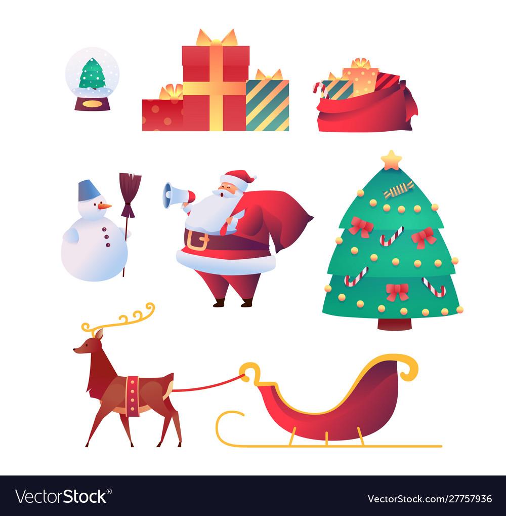 Cartoon santa claus reindeer christmas set