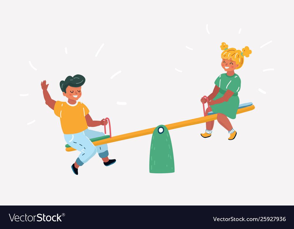 Children on seesaw in park