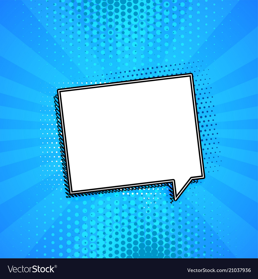 Comic chat bubble on blue background with