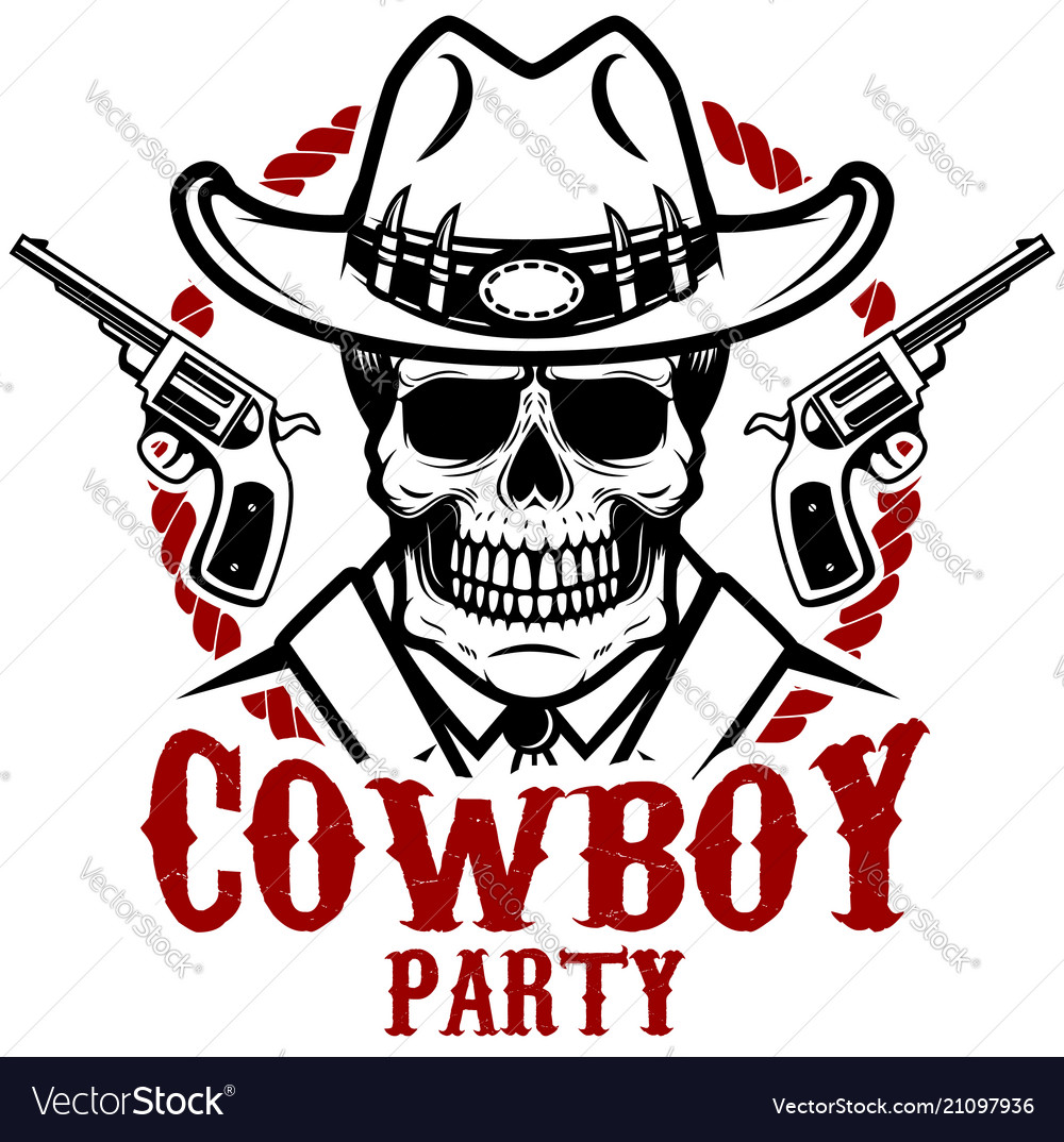 Cowboy party cowboy skull with revolvers design