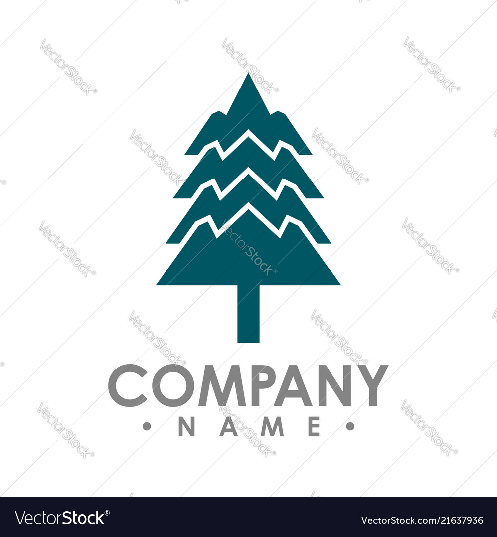 Flat design pine trees logo each element is