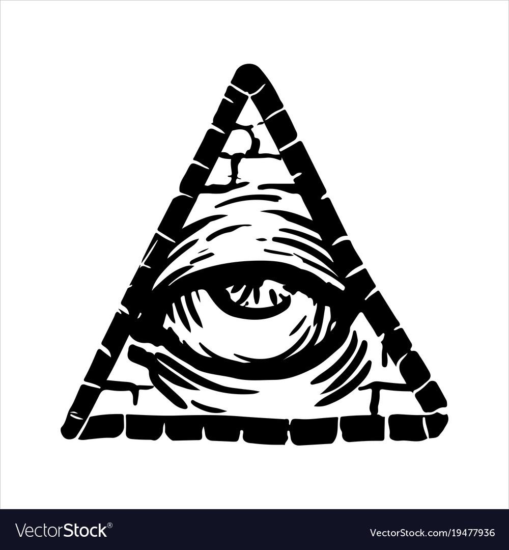 Hand Drawn Sketch Of The Illuminati Symbol Vector Image