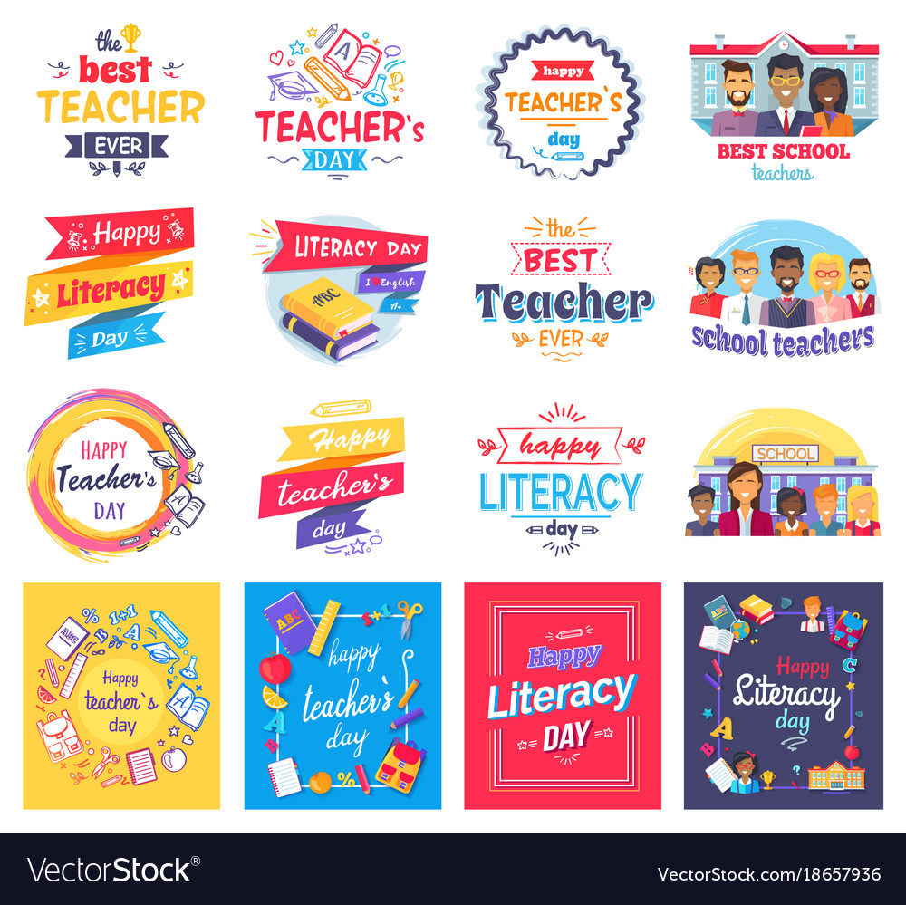 Literacy and teachers day isolated stickers set vector image