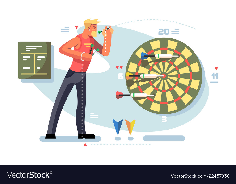 Man playing darts game championship concept