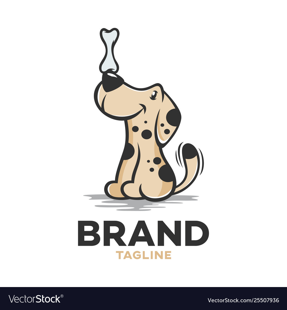 Modern logo pet dog with a bone