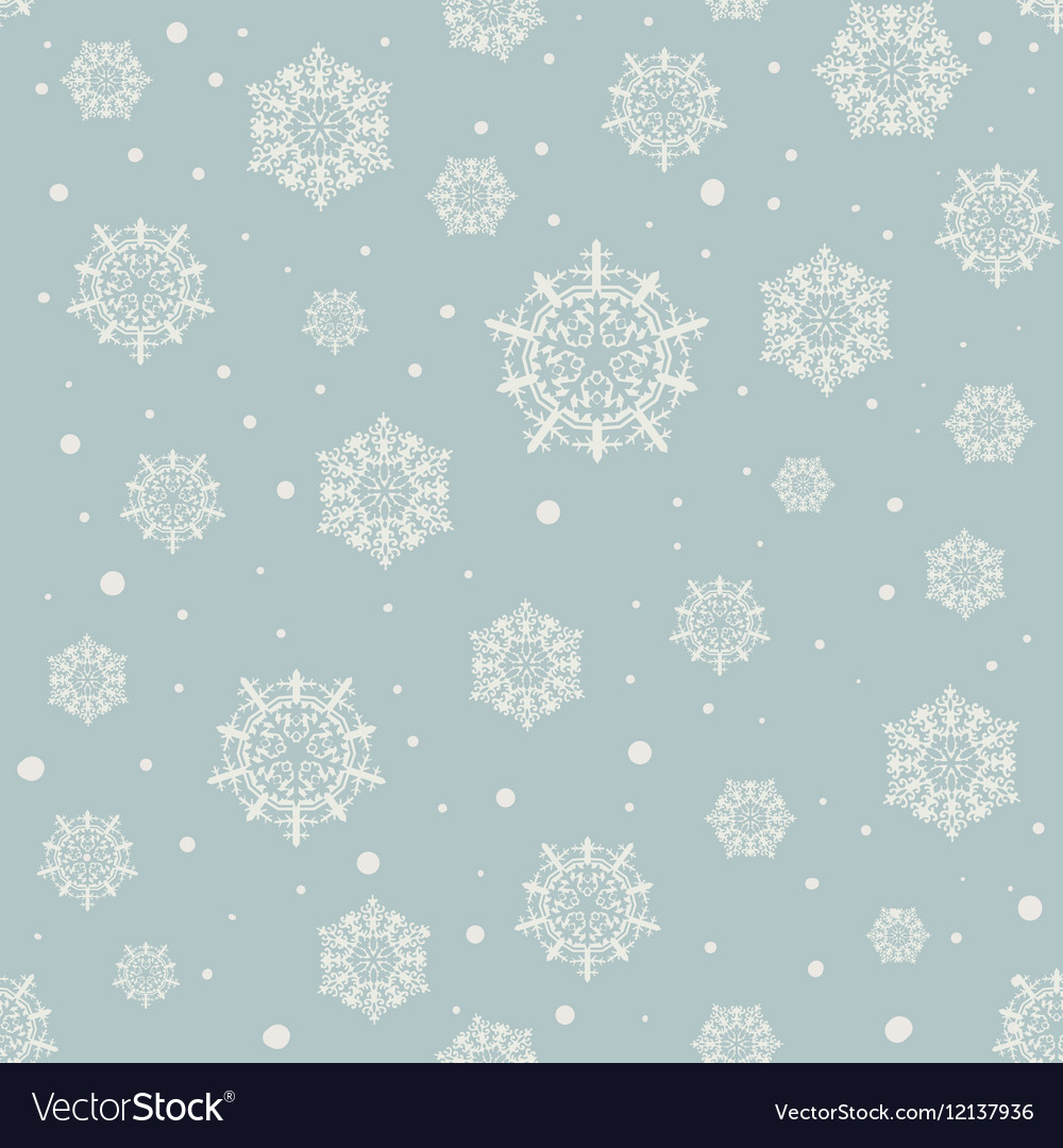 Seamless pattern of snowflakes on a blue