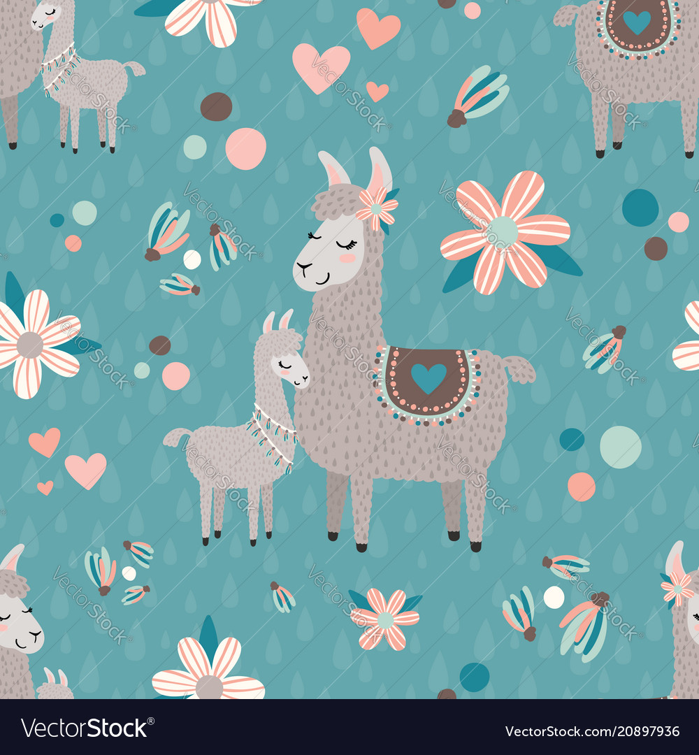Teal mama llama seamless pattern background vector
