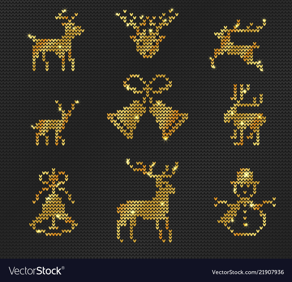 Ugly sweater pattern gold