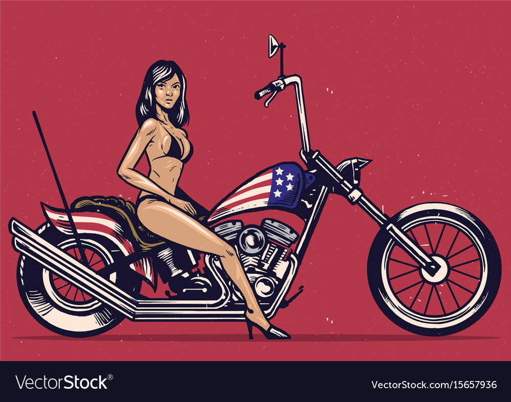 vintage hand drawing girl pose on a motorcycle vector image
