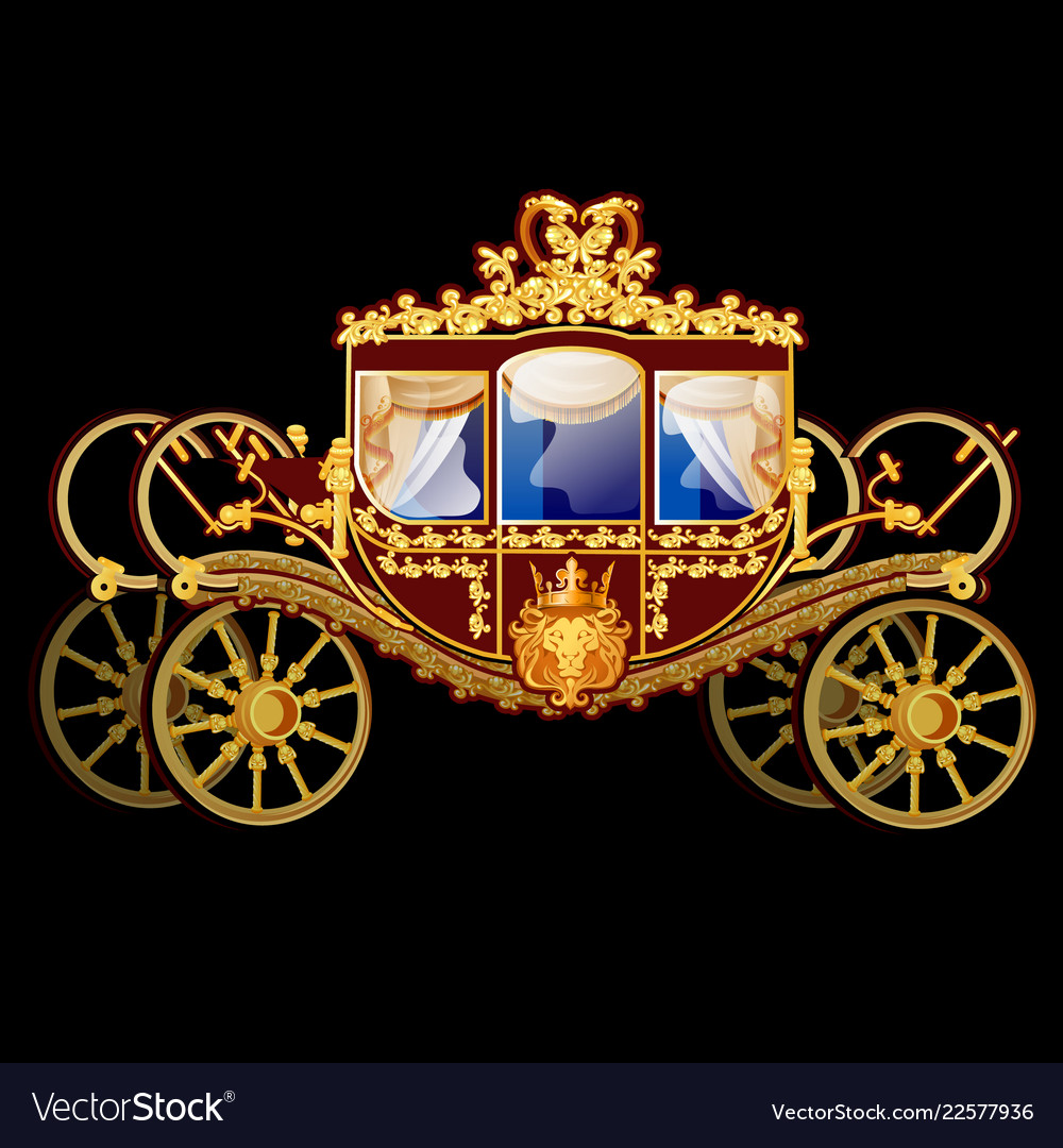 Vintage horse carriage with golden florid ornament