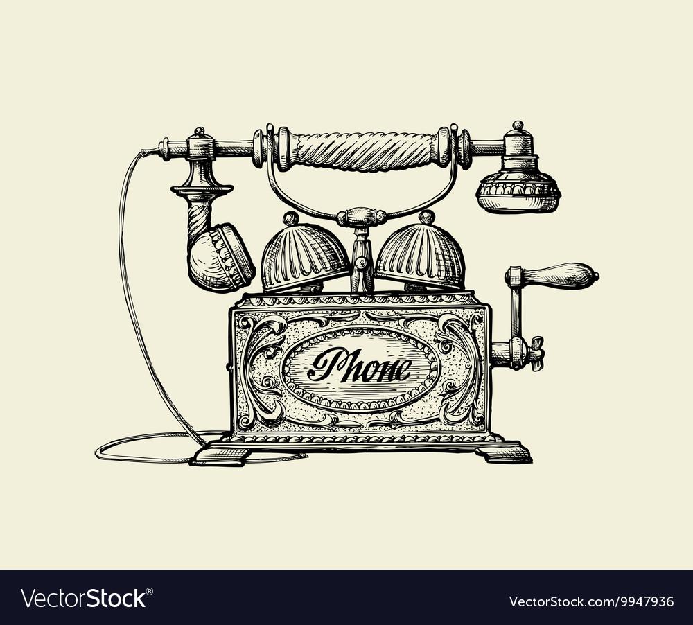 Vintage Telephone Hand Drawn Sketch Retro Phone Vector Image