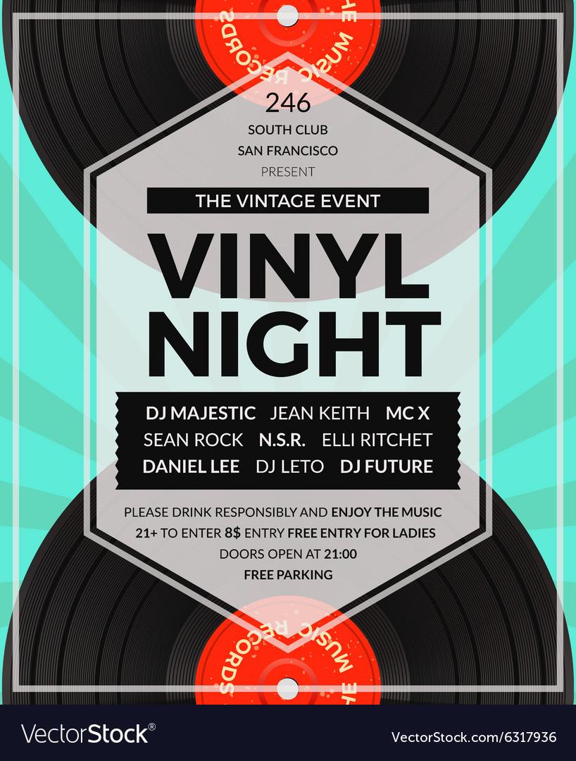 Vintage vinyl LP DJ party poster