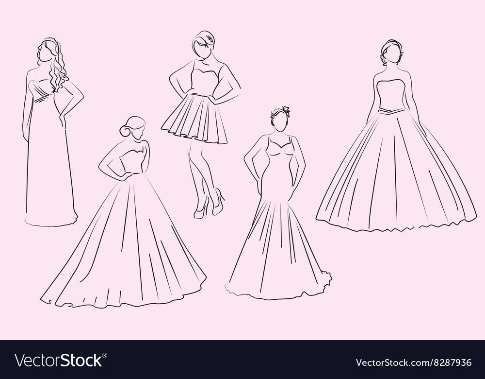 wedding bridesmaid dresses silhouettes royalty free vector