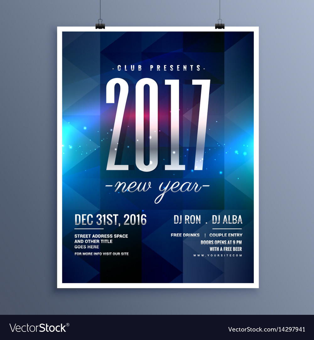 2017 New Year Party Invitation Flyer Royalty Free Vector