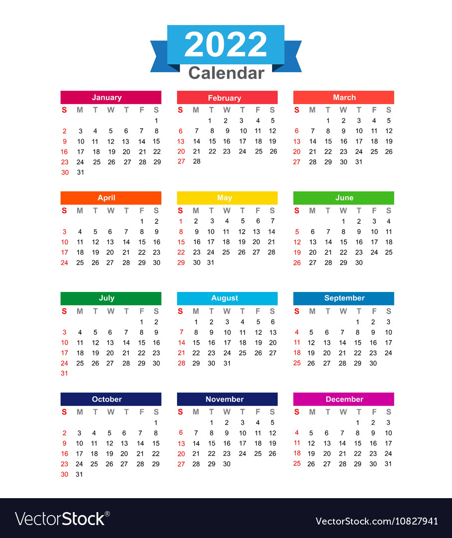 One Year Calendar 2022.2022 Year Calendar Isolated On White Background Vector Image