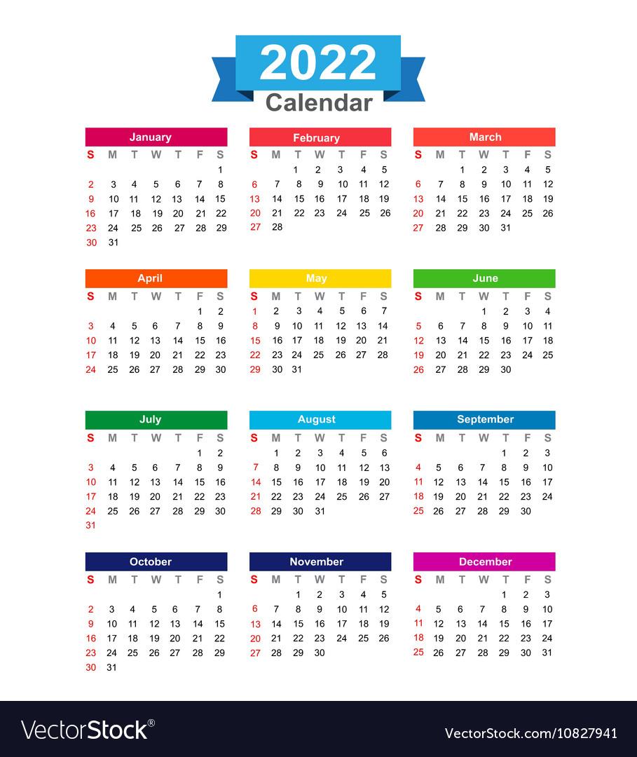 2022 Full Year Calendar.2022 Year Calendar Isolated On White Background Vector Image