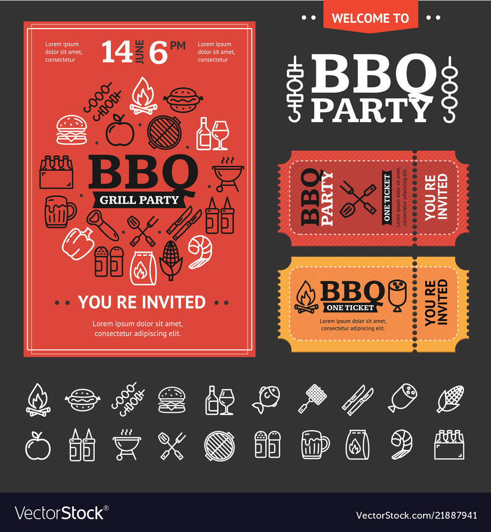 Bbq party invitation with thin line icon set