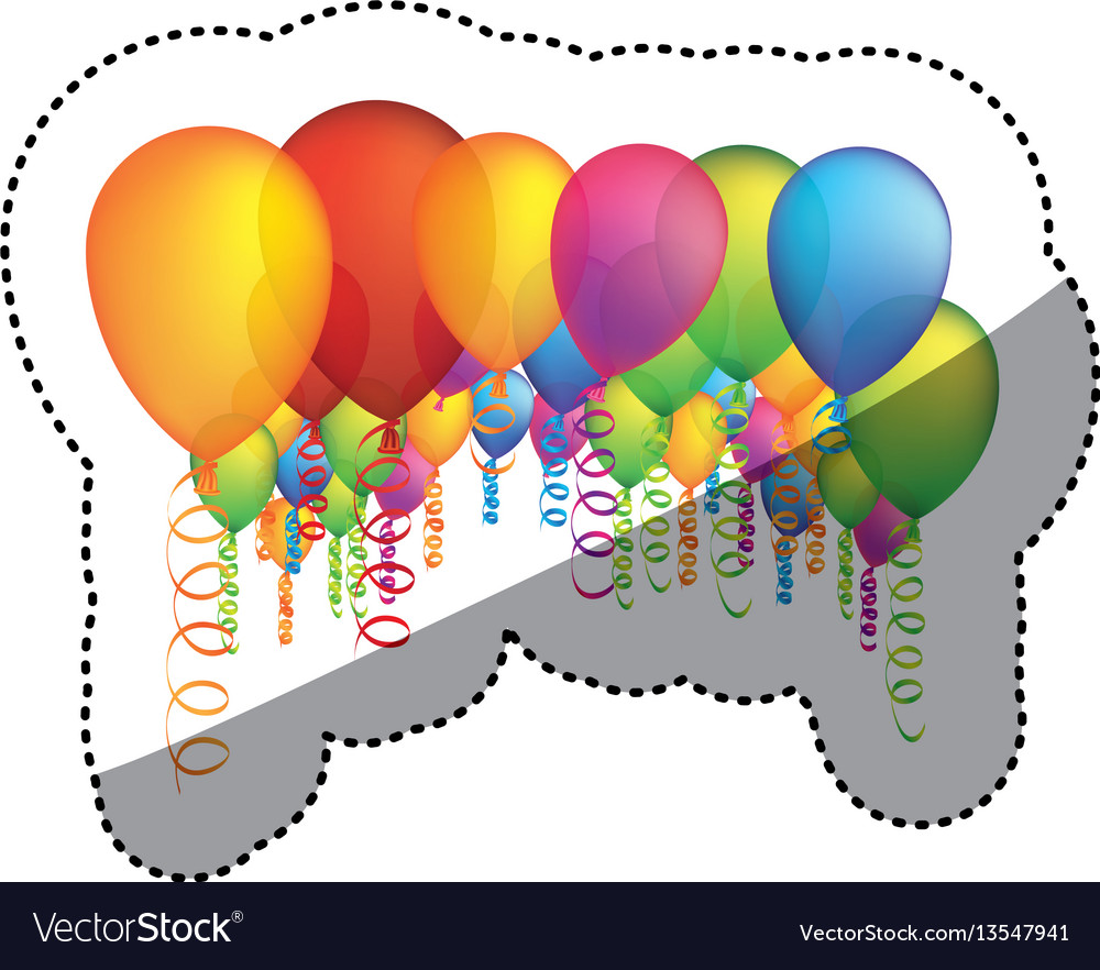 Colored party balloon with serpentine icon