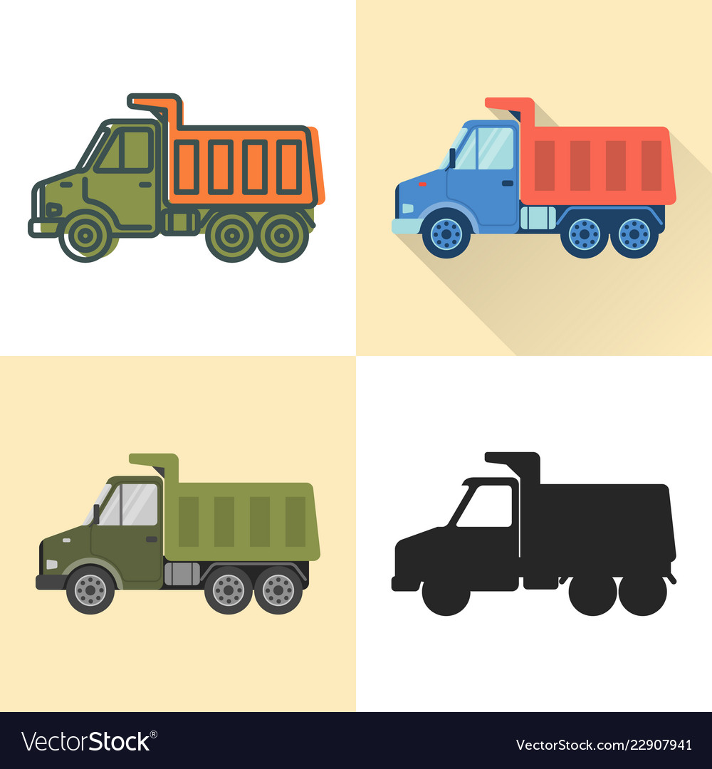 Dump truck icon set in flat and line styles