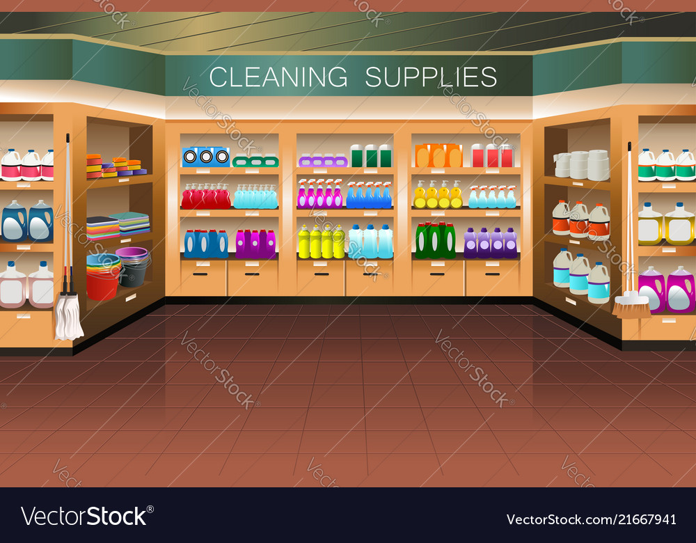 522b1fe84 Grocery store cleaning supply section Royalty Free Vector