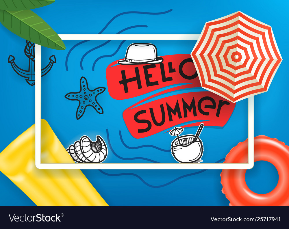 Hello summer travel concept with white frame