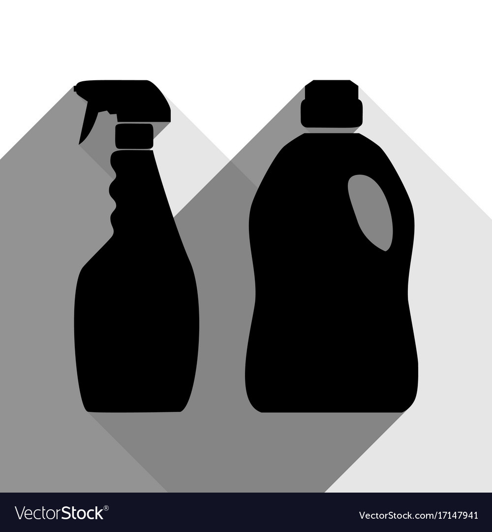 Household chemical bottles sign black