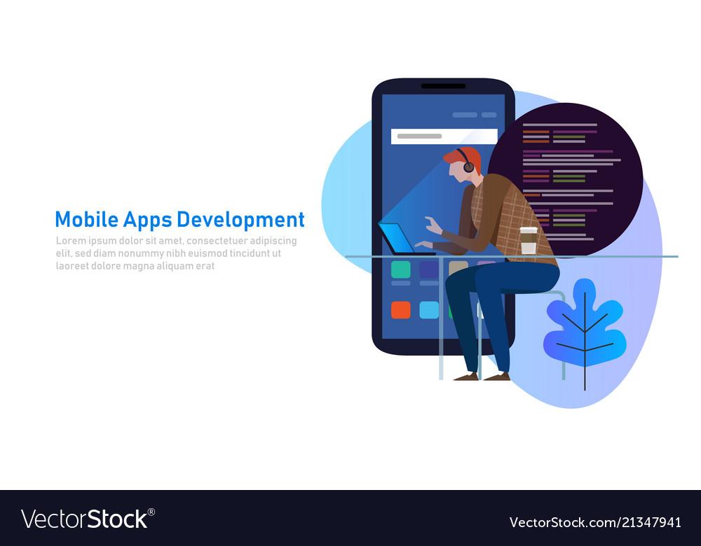 Mobile app development programmer code on laptop