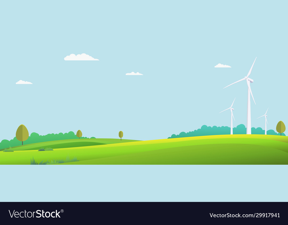Nature landscape with turbine wind in summer