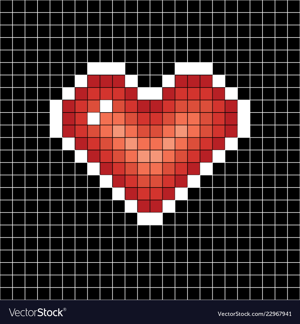 Pixel art heart love sign on black in white cell