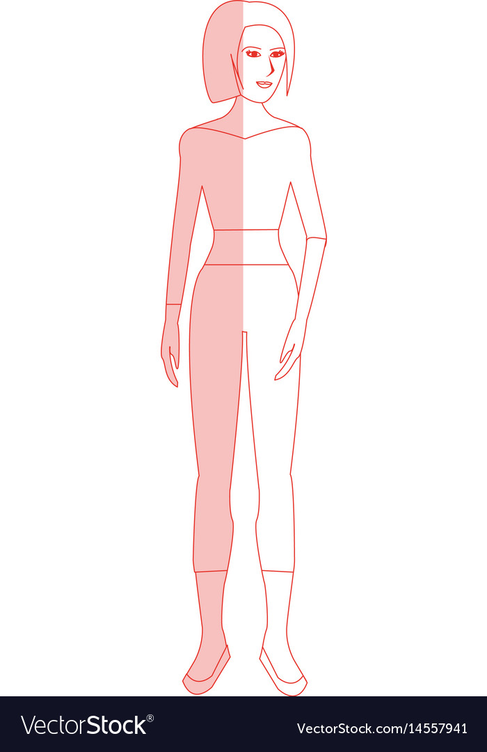 Red silhouette shading cartoon full body woman