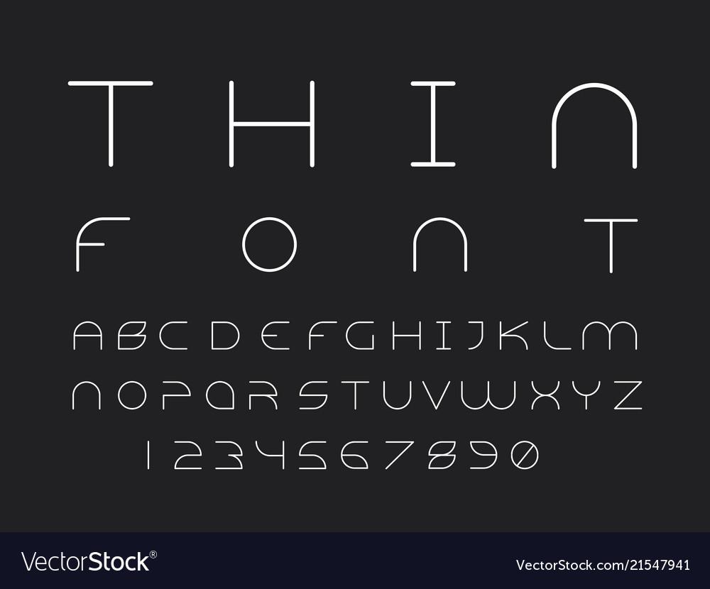Thin font alphabet