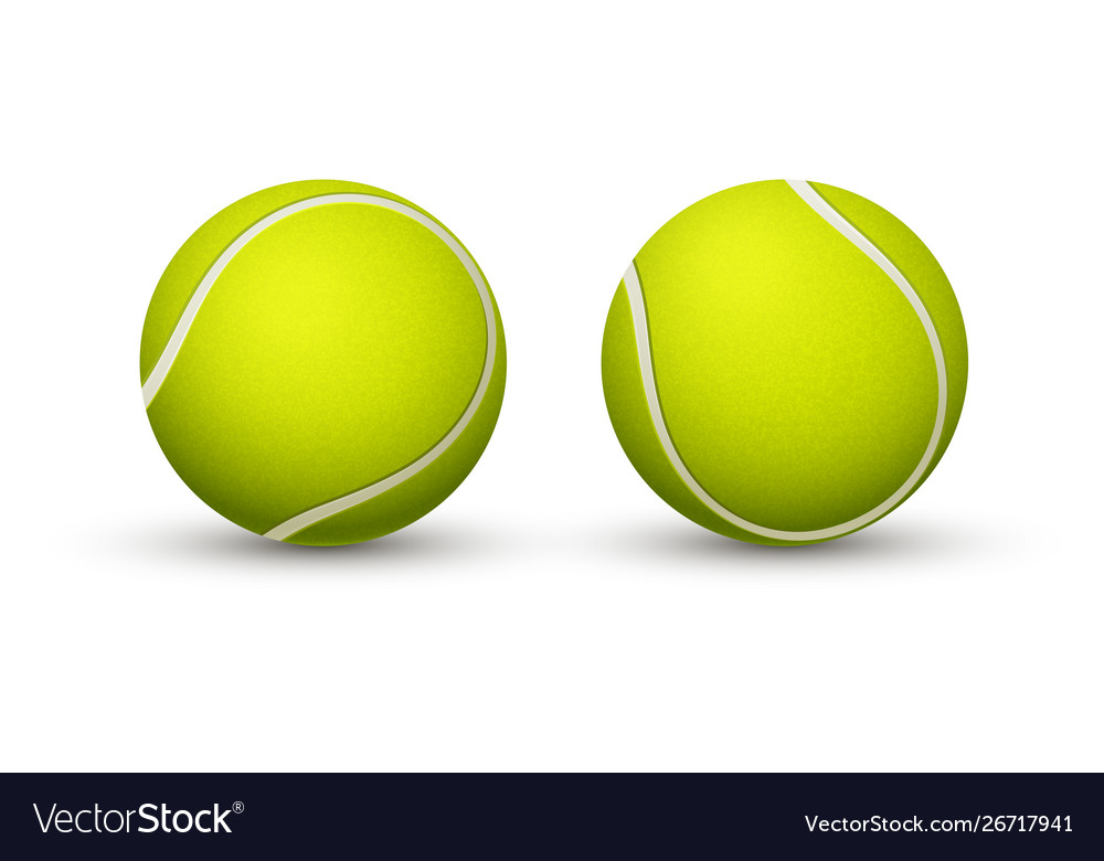 Yellow tennis ball closeup on a white background