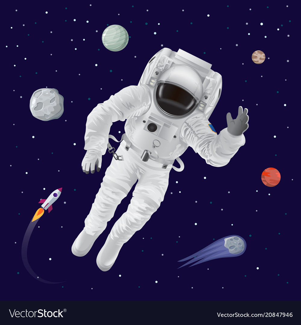 Astronaut and planets poster