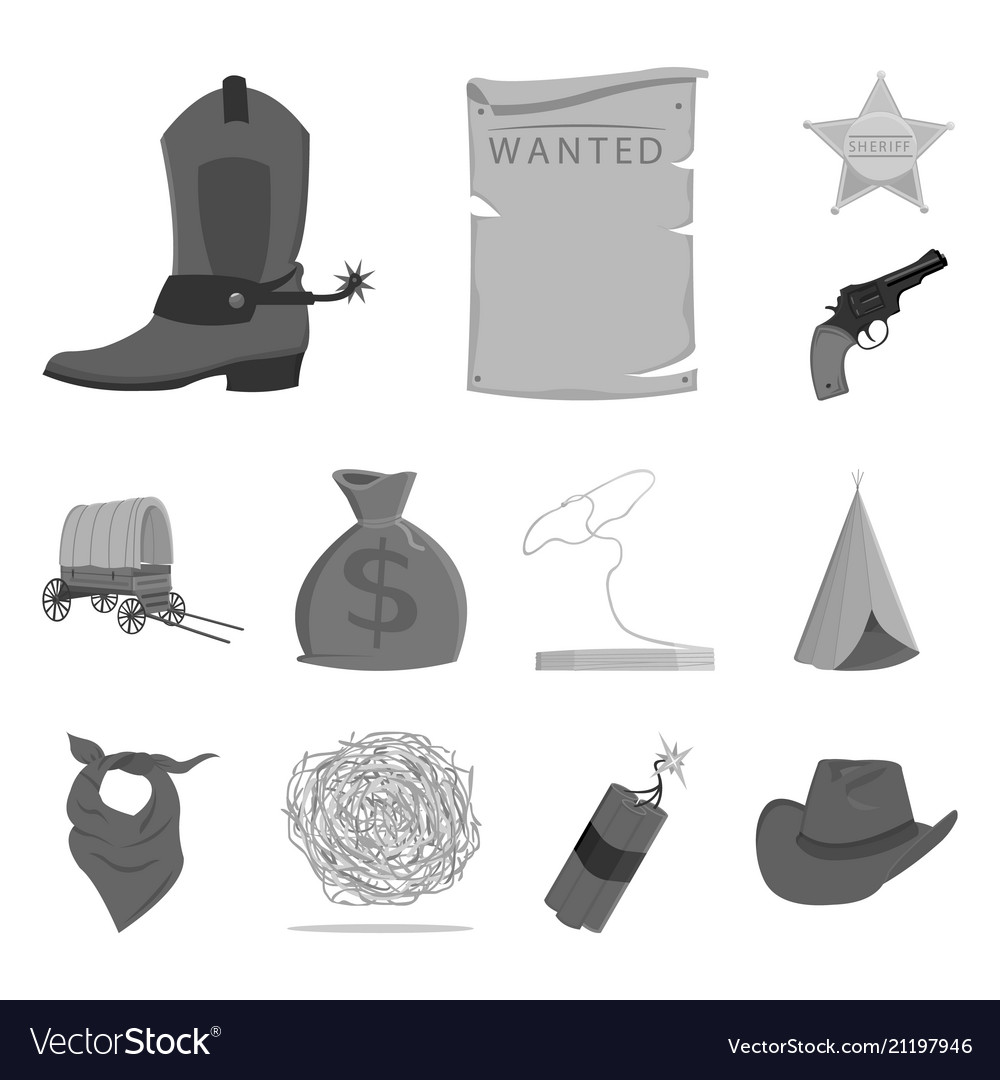 Attributes of the wild west monochrome icons in