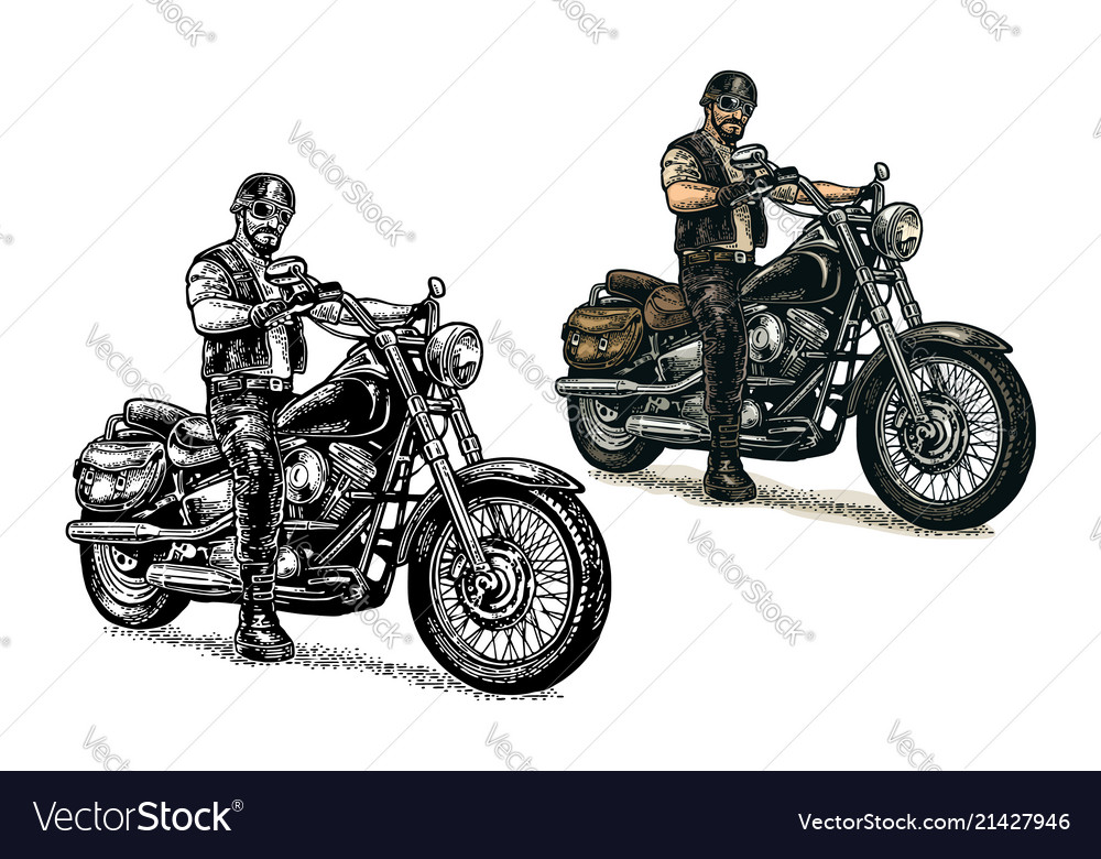 Biker riding a motorcycle engraved