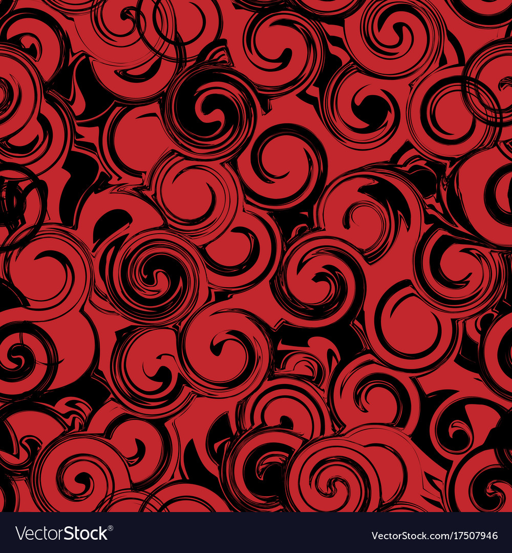 Black and red twirl seamless pattern abstract vector image