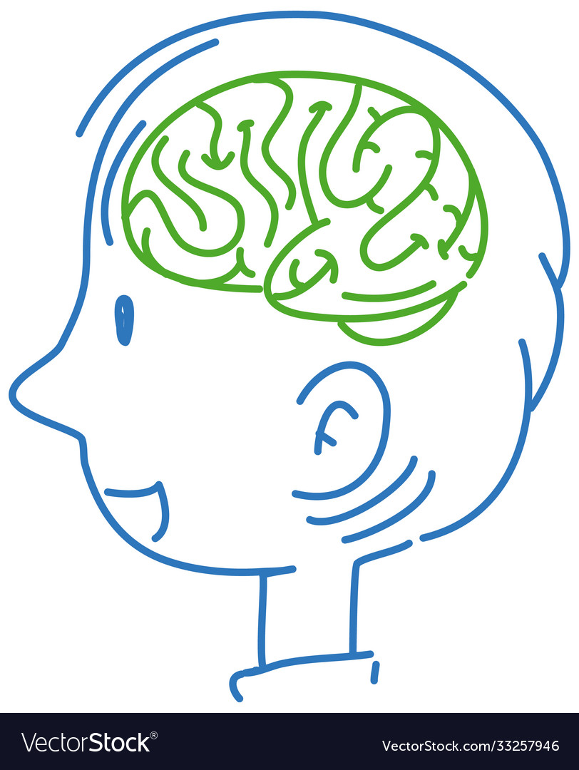 Brain on man outline character