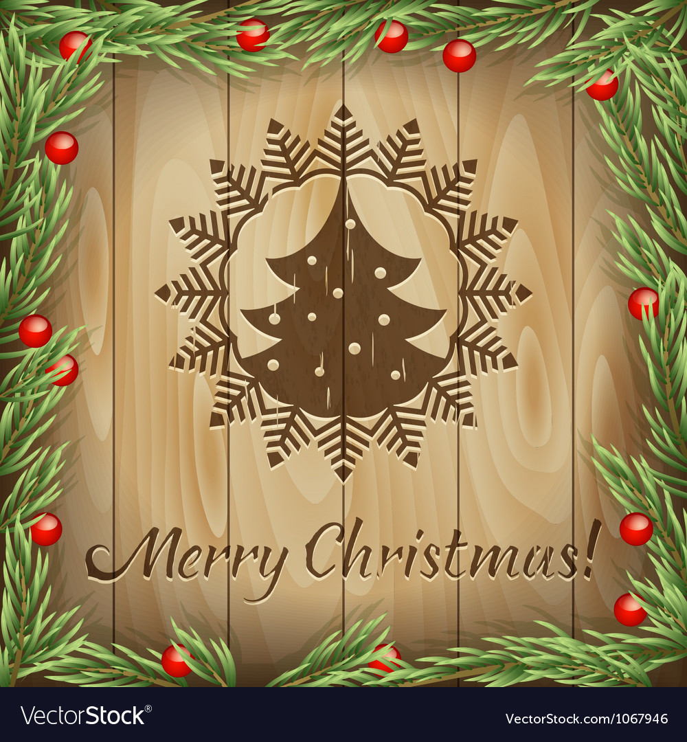 Christmas fir-tree wood background