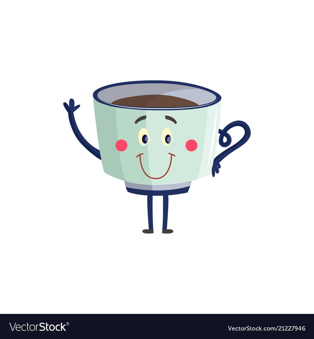 Cup of black coffee or tea cartoon character
