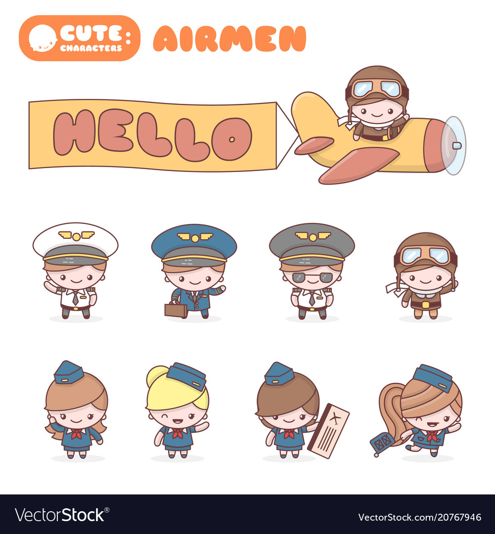 Cute chibi kawaii characters alphabet professions