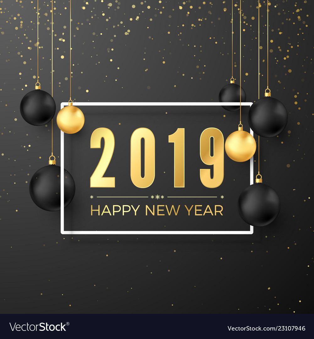 Greeting golden numbers 2019 and text happy new