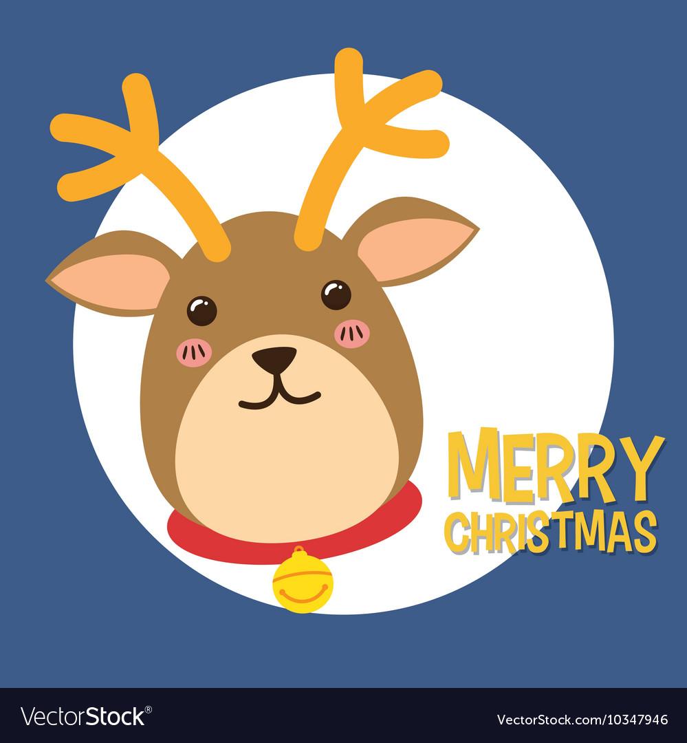 Deer kawaii. Icon merry christmas design