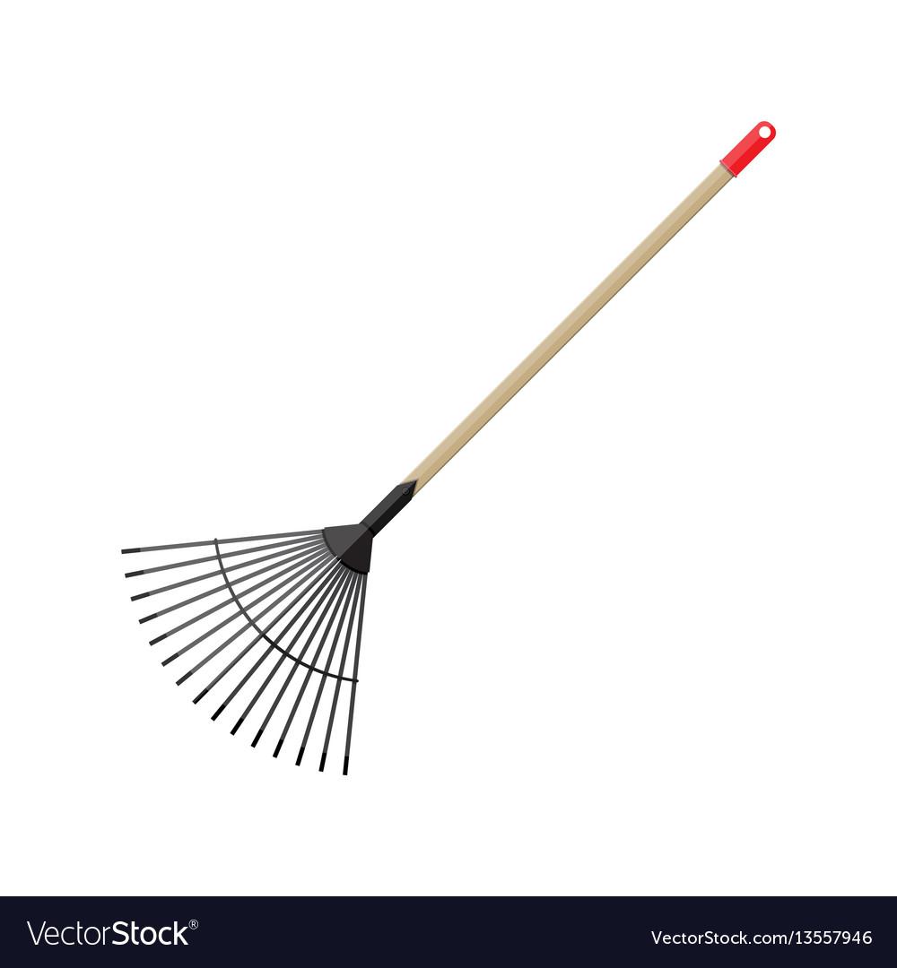 Metal rake with wooden handle garden accessories vector image