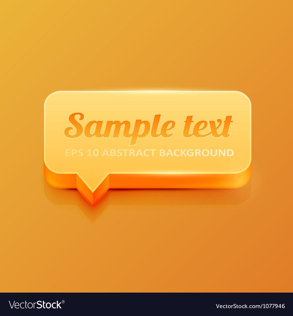 Orange speech bubble vector image