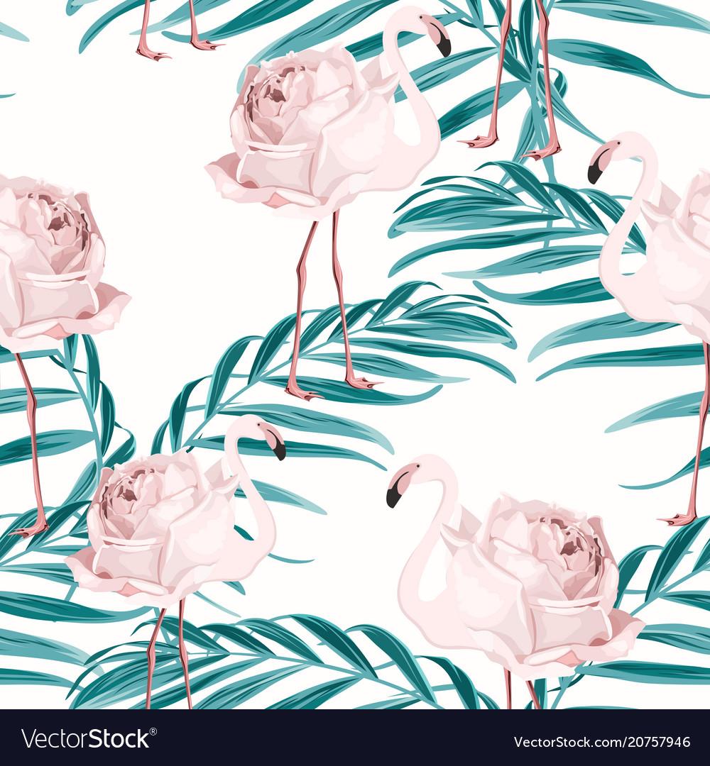 Pink flamingo bird rose flower palm leaves pattern