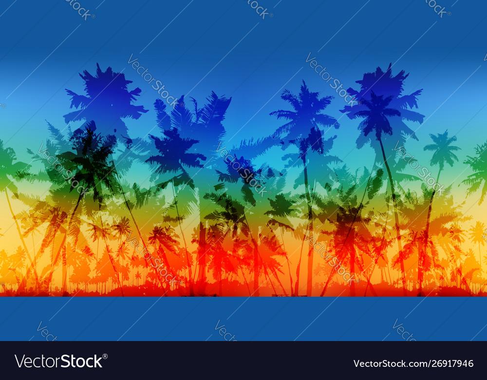 Rainbow colors palms silhouettes vintage