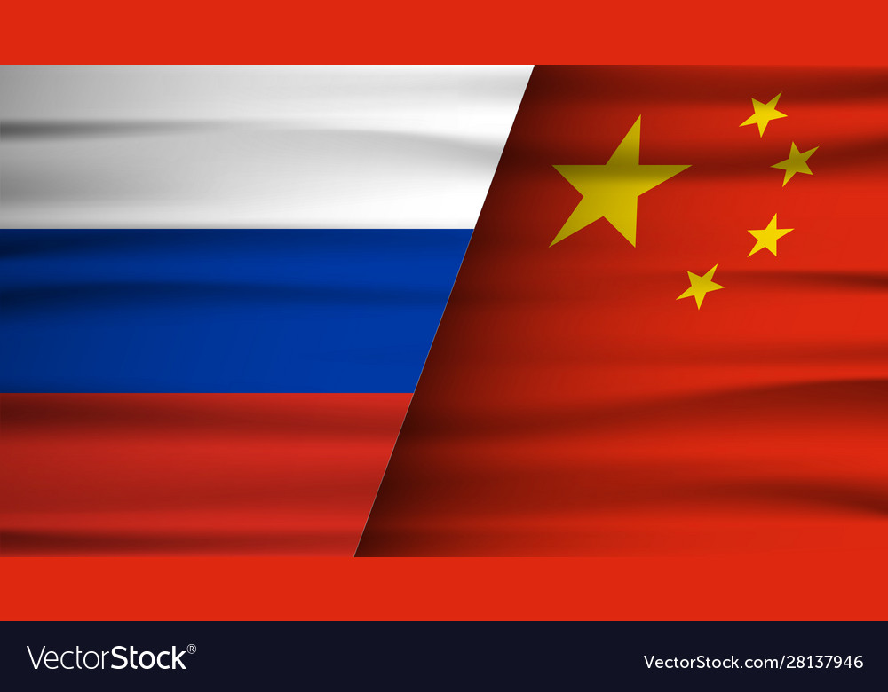 Russia and china flag partnership and cooperation