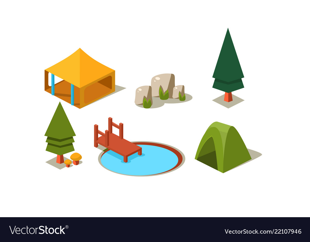 Set of isometric forest camping elements