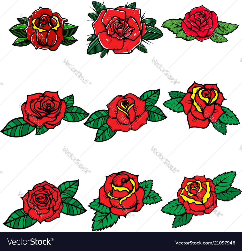 Set of tattoo style roses design element for