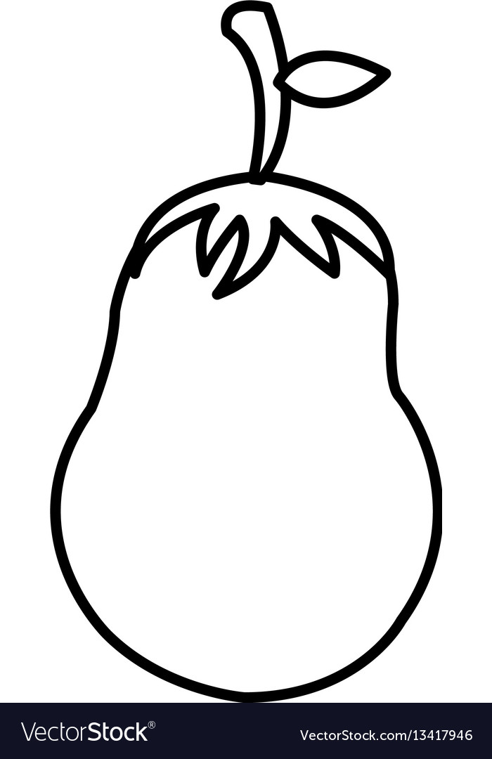 Silhouette vegetable eggplant icon vector image